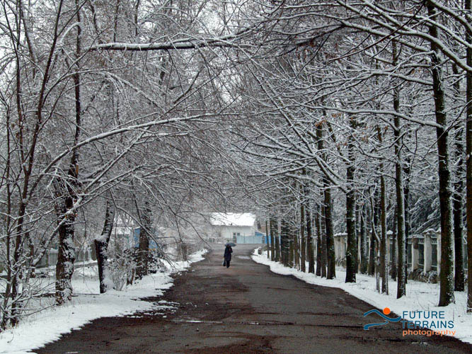 Snowy street Orlovka Kyrgyzstan