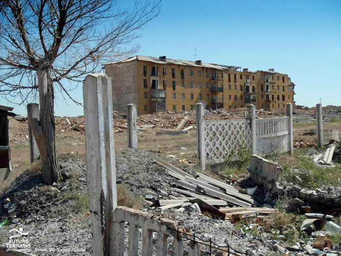 Abandned uranium mining town of Mirny, Kazakhstan